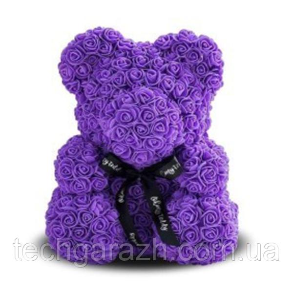 Мягкая игрушка Мишка из роз Bear Flowers Purpule 27 см + подарочная ко