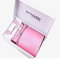 Галстук в наборе, с геометрическим рисунком розовый