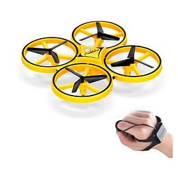 Квадрокоптер Drone Tracker ручной дрон с сенсорным управлением жестами Желтый
