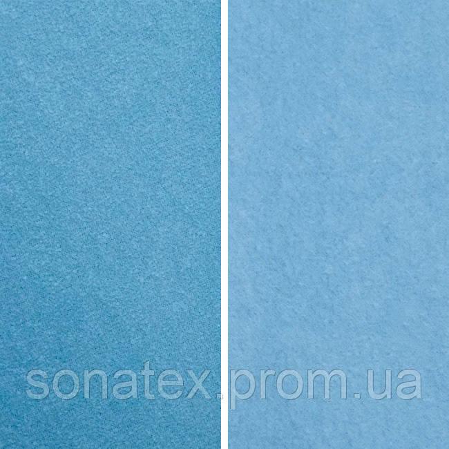 Трикотажное полотно начесная махра голубого цвета.
