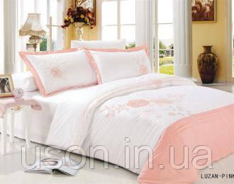 Комплект постельного белья  le vele сатин c вышивкой размер евро Luzan pink
