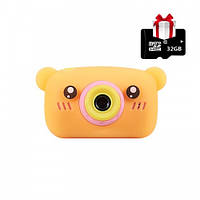 Детский цифровой фотоаппарат видеокамера Mini Blogger 3S Оранжевый Мишка 20Мп FullHD 1080+подарок карта памяти