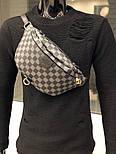 Мужская сумка мессенджер бананка Louis Vuitton серая с черным. Живое фото (Реплика ААА+), фото 3