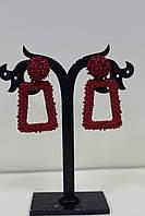 Красивые сережки для повседневной носки красные 4 см