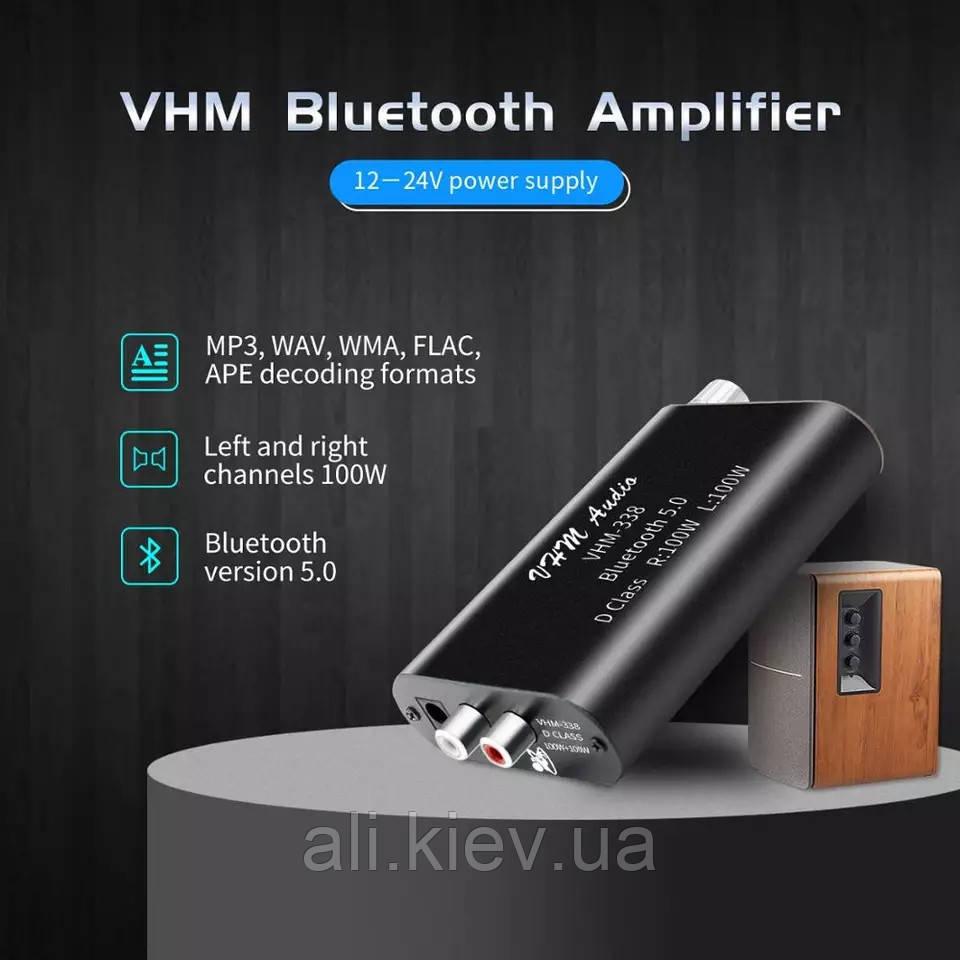 Підсилювач TPA3116 100W X2 Bluetooth 5.0 AUX USB плеєр MINI VHM338 Бездротовий аудіо 2.0 Стерео 12-24в