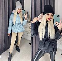 Курточка женская. Утепленная женская курточка голубого цвета. Короткая стильная женская курточка под пояс