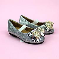 Туфли праздничные для девочки тм PALIAMENT серебро размер 26,27,30,31,32,34,35