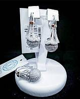 Серебряный комплект с фианитовыми шарами и золотом Акцент, фото 1