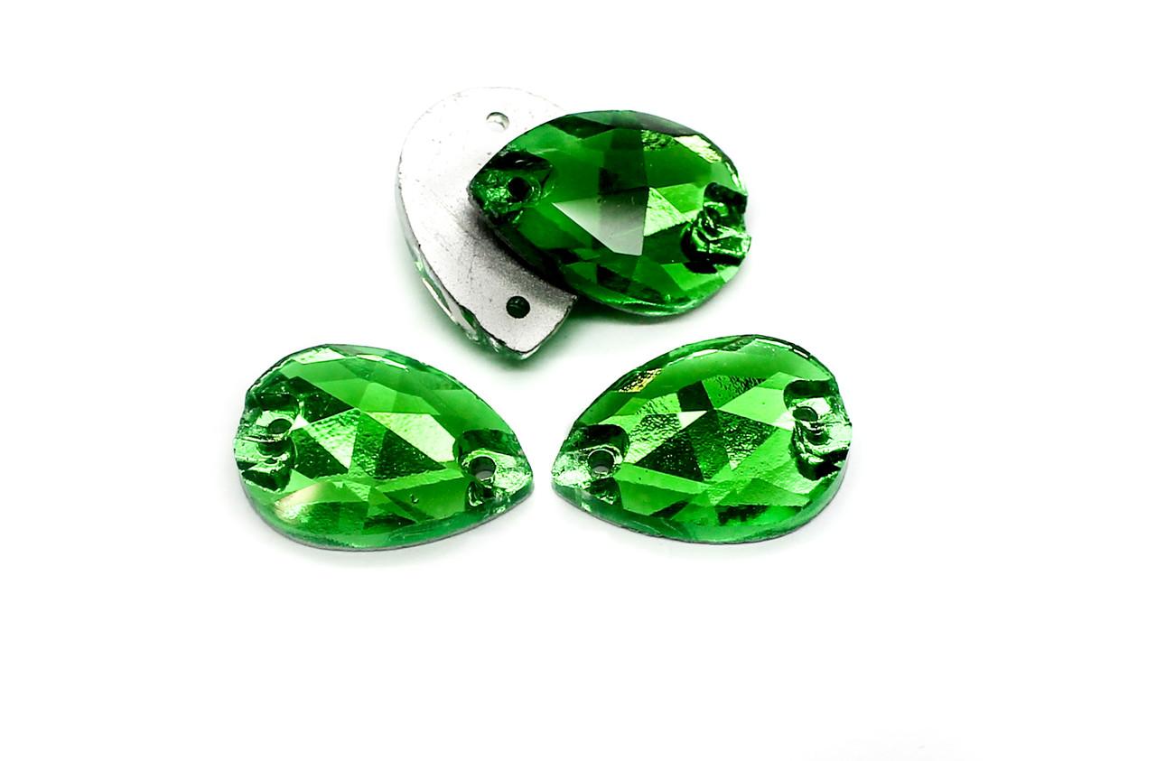 Стразы стеклянные пришивные, Размер:18х13 мм,Цвет Зеленый