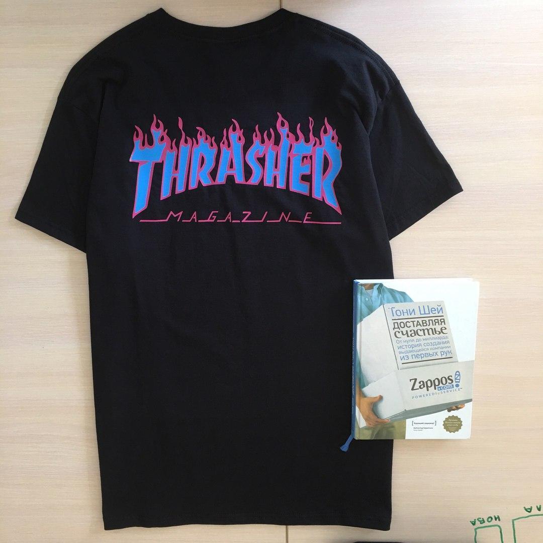 Футболка чёрная LOYS Thrasher Blue Flame S