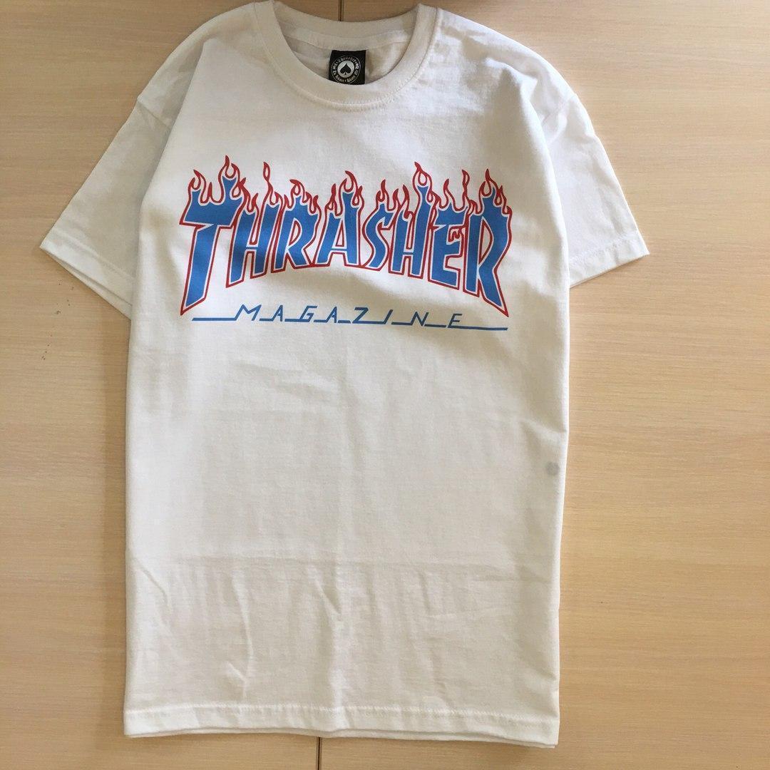 Футболка белая LOYS Thrasher Blue Flame S