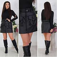 Женская юбка из экокожи черного цвета. Короткая женская юбка на флисе. Женская юбка на молнии. Женская юбка
