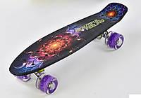 Скейтборд, доска=55см, колёса PU, СВЕТЯТСЯ, d=6см Best Board F 8740