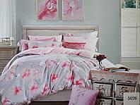 Сатиновое постельное белье полуторное ELWAY 5026 «Цветы орхидеи»