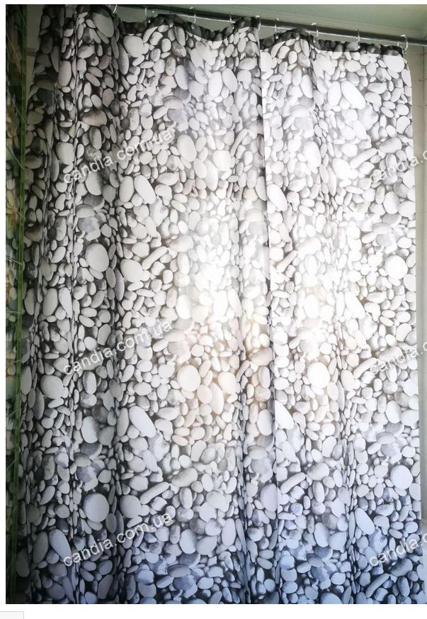 Шторка для ванной с кольцами Miranda ROKS GREY (Турция) 180х200 см