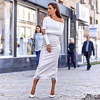 Женская юбка из экокожи бежевая