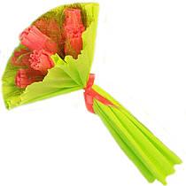 Букет из конфет 7 коралловых роз в салатовом