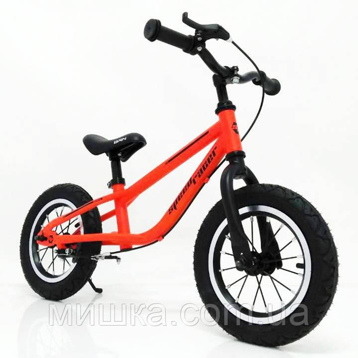 """Детский беговел с ручным тормозом 14"""" BRN-B216-1 оранжевый Orange Air wheels"""