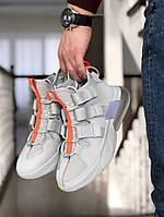 Мужские кроссовки серые с ремешками 8823