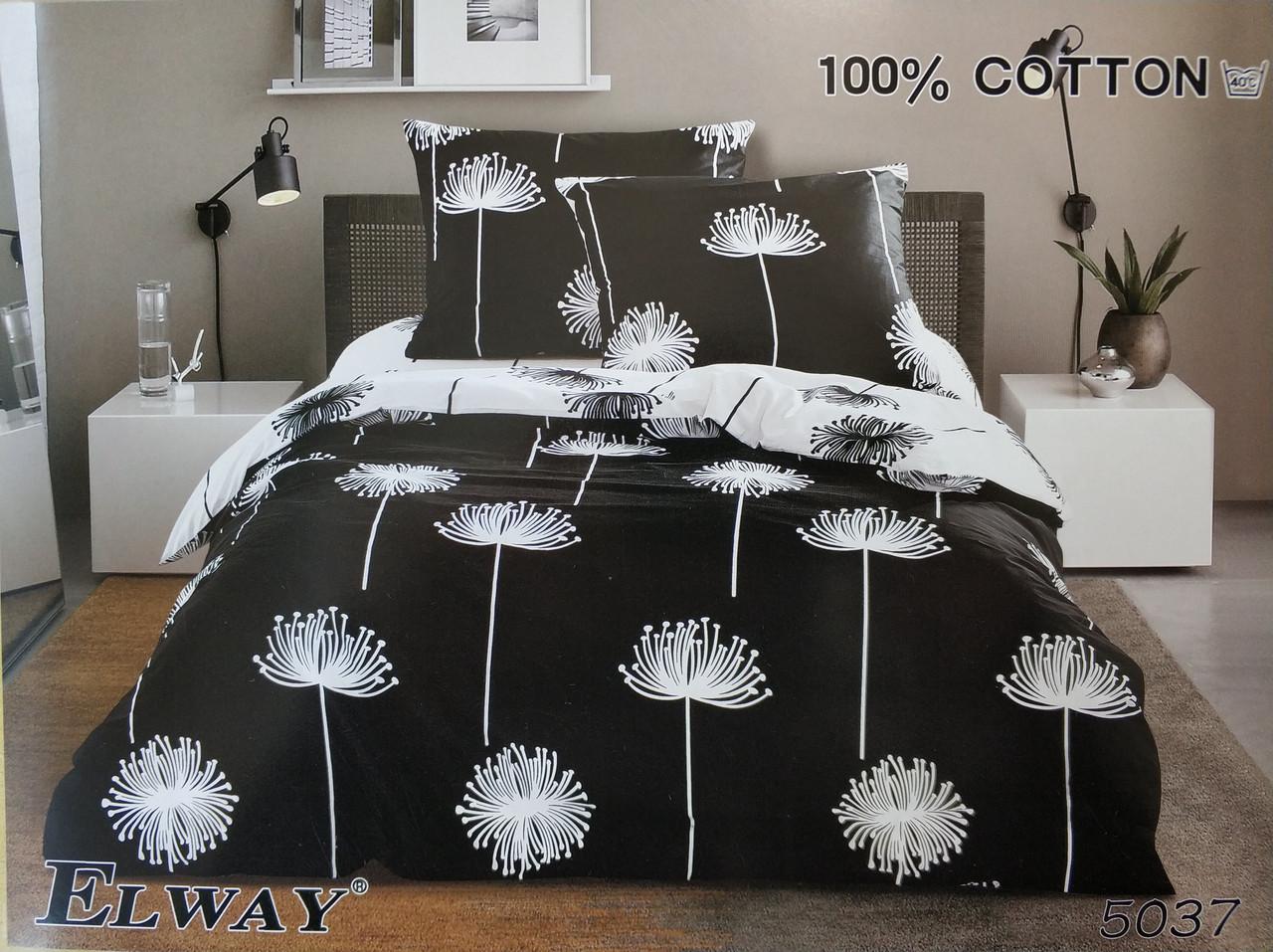 Сатиновое постельное белье полуторное ELWAY 5037 «Одуванчики на черном»