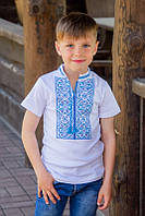 Детская вышиванка с коротким рукавом с синими нитками 8-9 лет