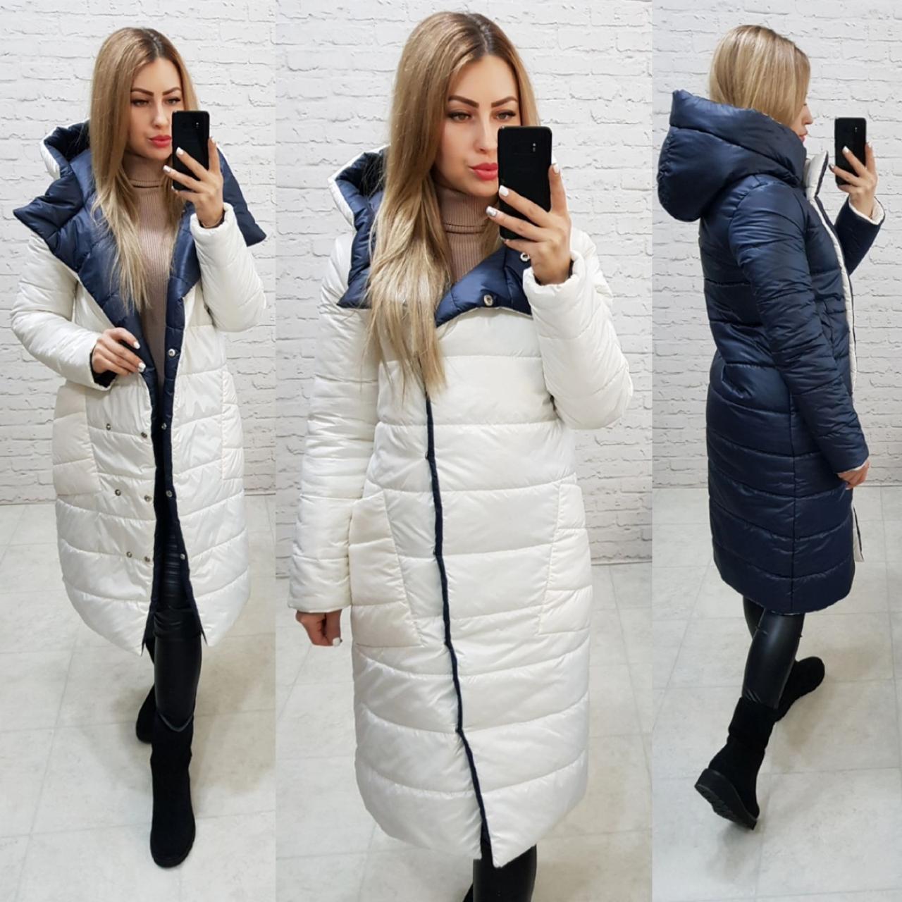 Куртка двостороння євро-зима з капюшоном арт. 1007молочный/темно-синій