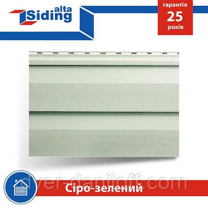 Сайдинг виниловый Альта-Профиль Alta-Siding двухпереломный 3660х230х11 мм серо-зеленый, фото 2