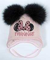Шапка для девочек зимняя розовая с натуральными помпонами на завязках