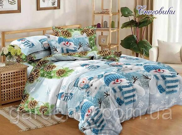 Комплект постельного белья Снеговики ТМ TAG 1,5 спальный комплект, фото 2