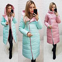 Куртка двустороняя евро-зима  с капюшоном арт. 1007 мятный/розовый, фото 1