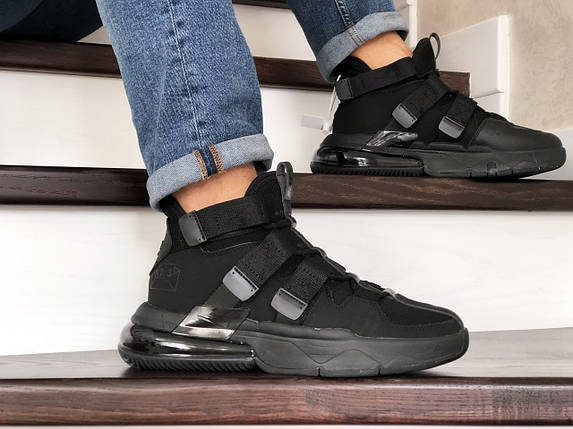 Черные мужские кроссовки с ремешками прессованная кожа 15\8826, фото 2