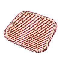 Подставка под горячее бамбуковая соломка квадратная 17х17 см бежево-малиновая (42802.002)