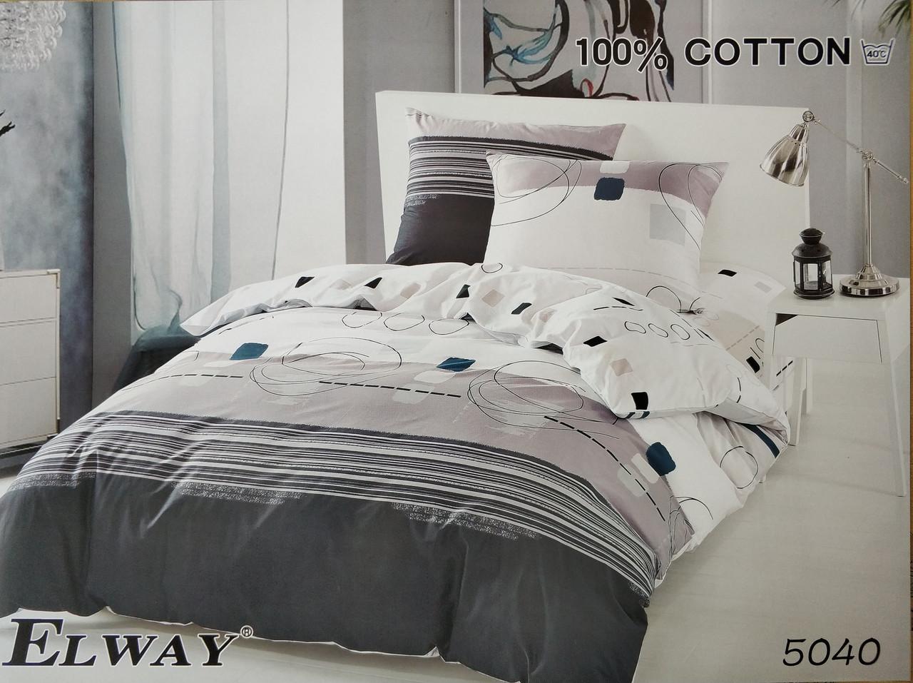 Сатиновое постельное белье полуторное ELWAY 5040 «Абстракция»
