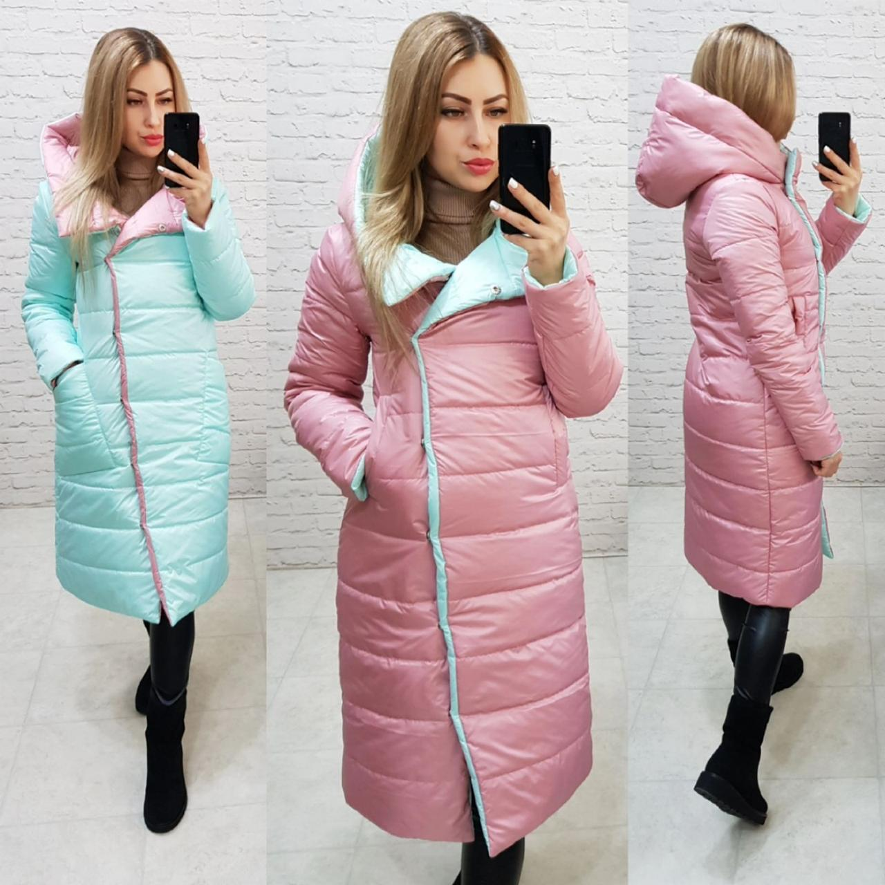 Куртка двустороняя евро-зима  с капюшоном арт. 1007 розовый/мята