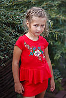 Детское красное платье-вышиванка на рост 98-110см