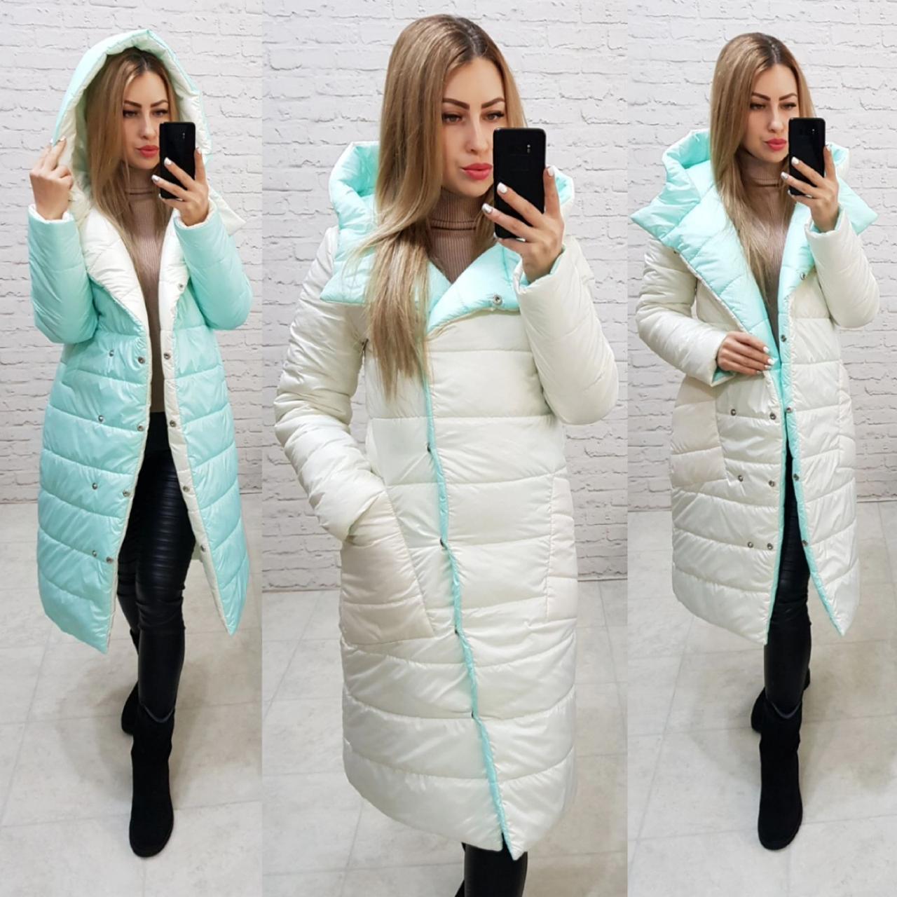 Куртка двустороняя евро-зима  с капюшоном арт. 1007 молочный/мята