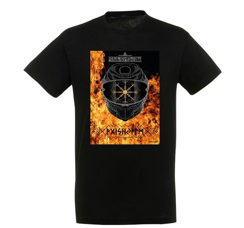"""Байкерська футболка """"Шолом Непереможності.Вогонь"""""""