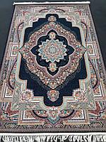 Ковер персидский 225х150 черного цвета рельефный с ярким восточным рисунком и узорами 3d