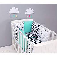 Комплект в детскую кроватку Хатка черный зигзаг с мятой