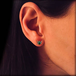 Срібні сережки-пуссети з камінням Павучки, фото 2