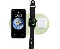 Зарядное устройство Qitech AirPower 3 в 1 Gen 2 для Apple Watch с технологией QI Fast Charge цвет зеленый
