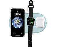 Зарядное устройство Qitech AirPower 3 в 1 Gen 2 для Apple Watch с технологией QI Fast Charge цвет голубой