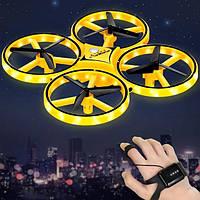 Квадрокоптер Drone Tracker ручной дрон с браслетом и управлением жестами Yellow