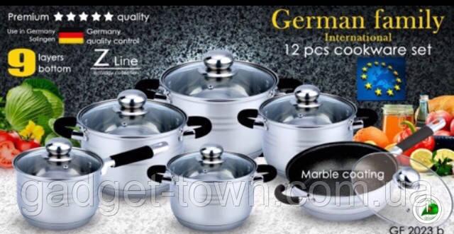 Набір посуду для кухні German Family (12 предметів) силіконові ручки
