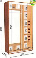 Шкаф-купе 1800х600х2400 фон зеркало 03-36х2 сонома 12-1605 (Влаби)