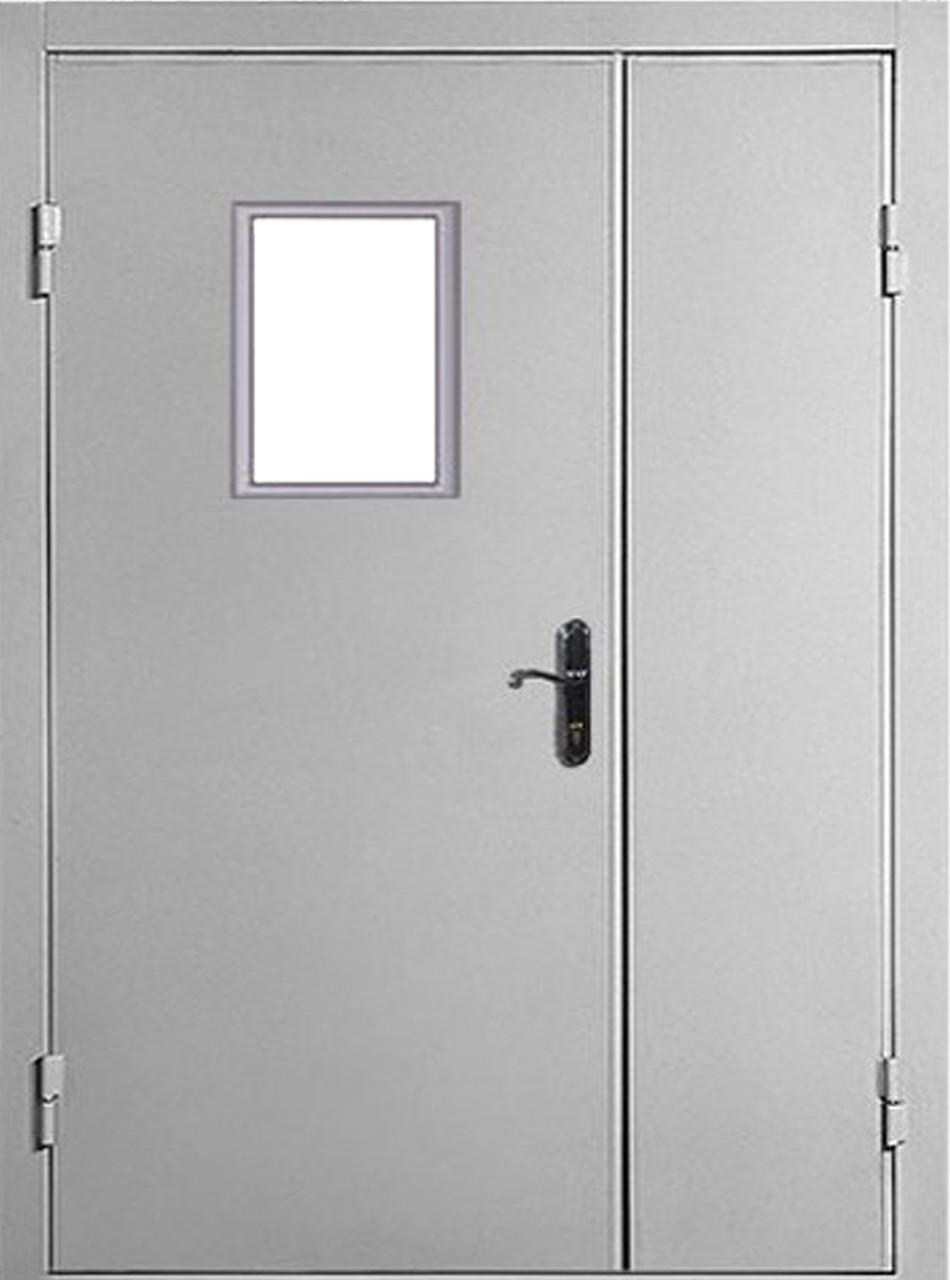Двери противопожарные El-30-60 огнестойкие двухстворчатые 1260*2050 со стеклом.