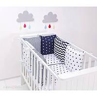 Комплект в детскую кроватку Хатка черно-белый с синим