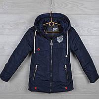 """Куртка детская демисезонная """"NY"""" 7-8-9-10-11 лет (122-146 см). Темно-синяя. Оптом., фото 1"""