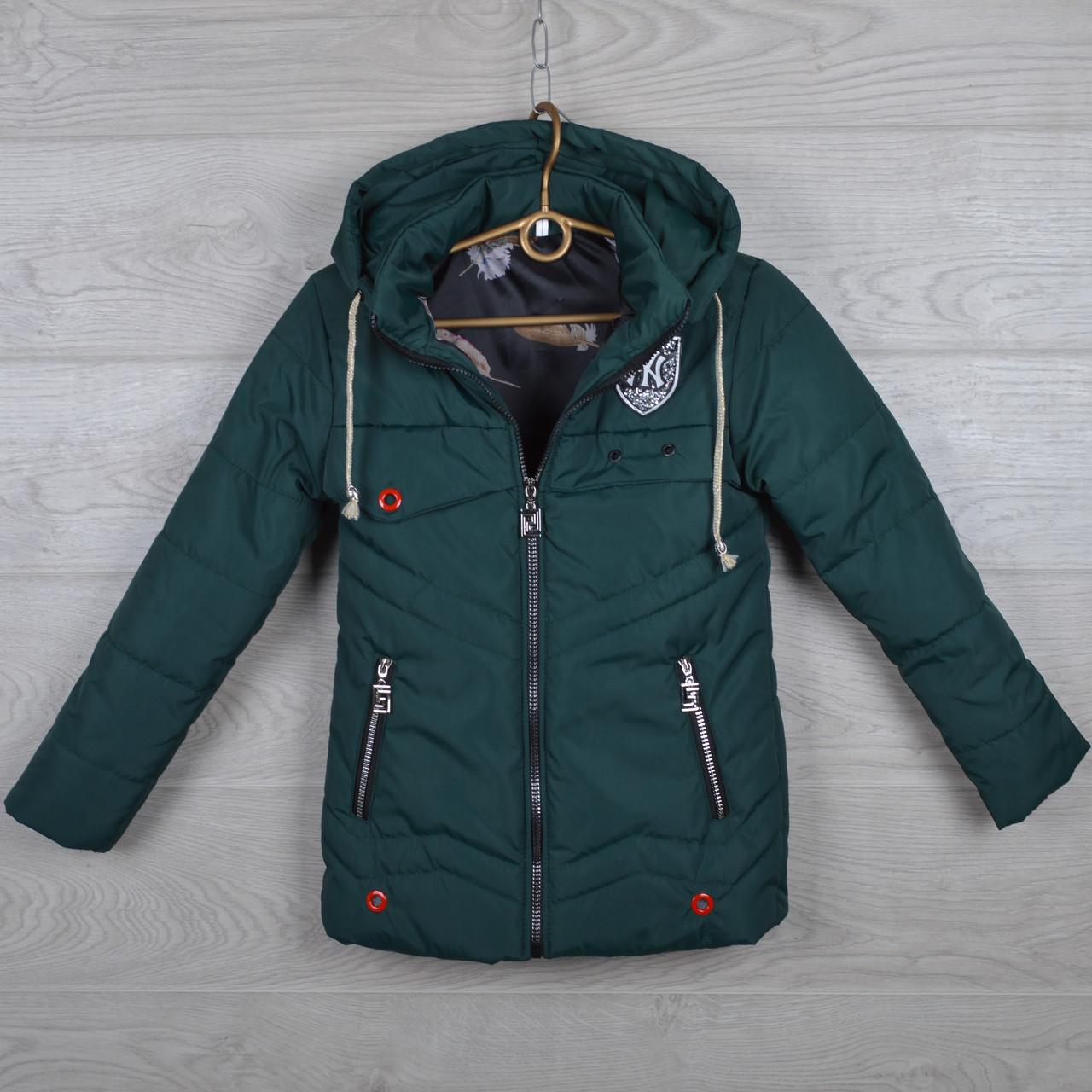 """Куртка детская демисезонная """"NY"""" 7-8-9-10-11 лет (122-146 см). Темно-зеленая. Оптом."""