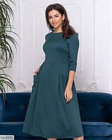 Модное трикотажное платье клеш до колена с карманами арт 2007